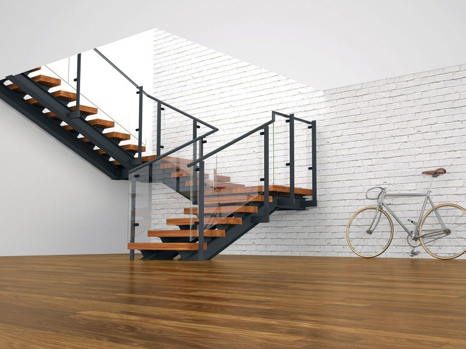 Tobu double spine double quarter landing stairs with for Quarter landing staircase