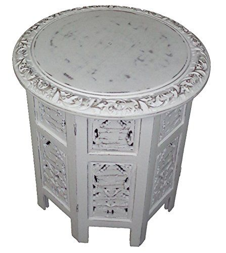 Jaipur Solid Wood Hand Carved Accent Table   Antique White   Handcrafted  Carved Wood Folding Accent