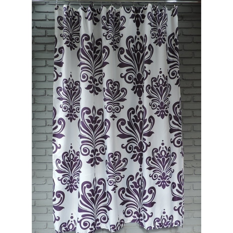Gamma Extra Long Shower Curtain 78 X 72 Inch Purple And White