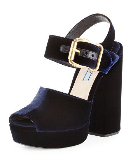 7f23e23c79f PRADA Velvet Platform Ankle-Wrap Sandal