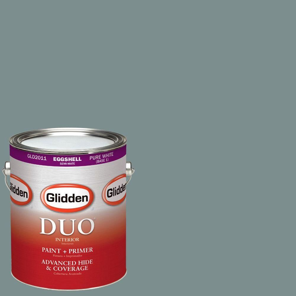 Glidden DUO 1-gal. #HDGCN21U Greyed Teal Green Eggshell Latex Interior Paint with Primer