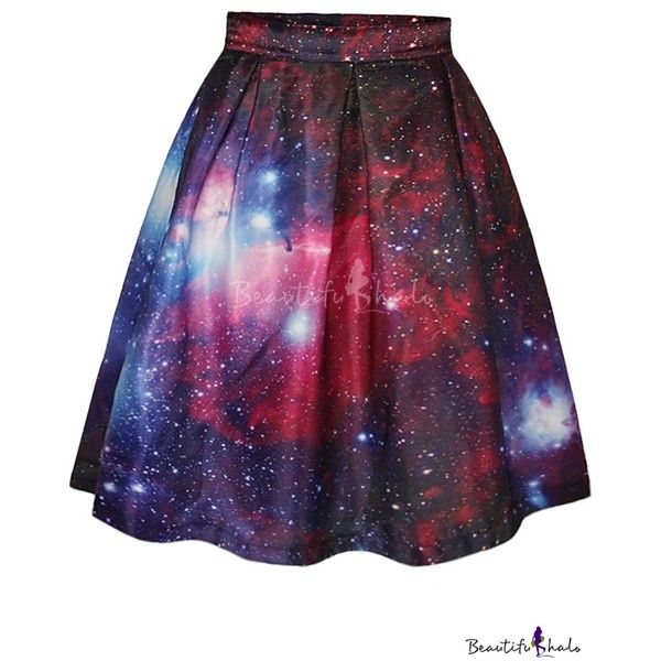 Red Galaxy Print Tie Dye A-Line Skirt ($24) ❤ liked on Polyvore featuring skirts, purple skirt, a line skirt, red skirt, tye dye skirts and galaxy print skirt