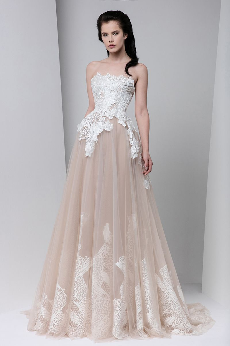 Tony Ward Fall Winter 2016 2017 blush and white evening gown   pasta ...