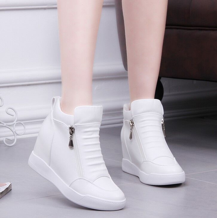 Korean Fashion Womens Sneaker Hidden Wedge Heel Platform Causal Creeper Shoes US