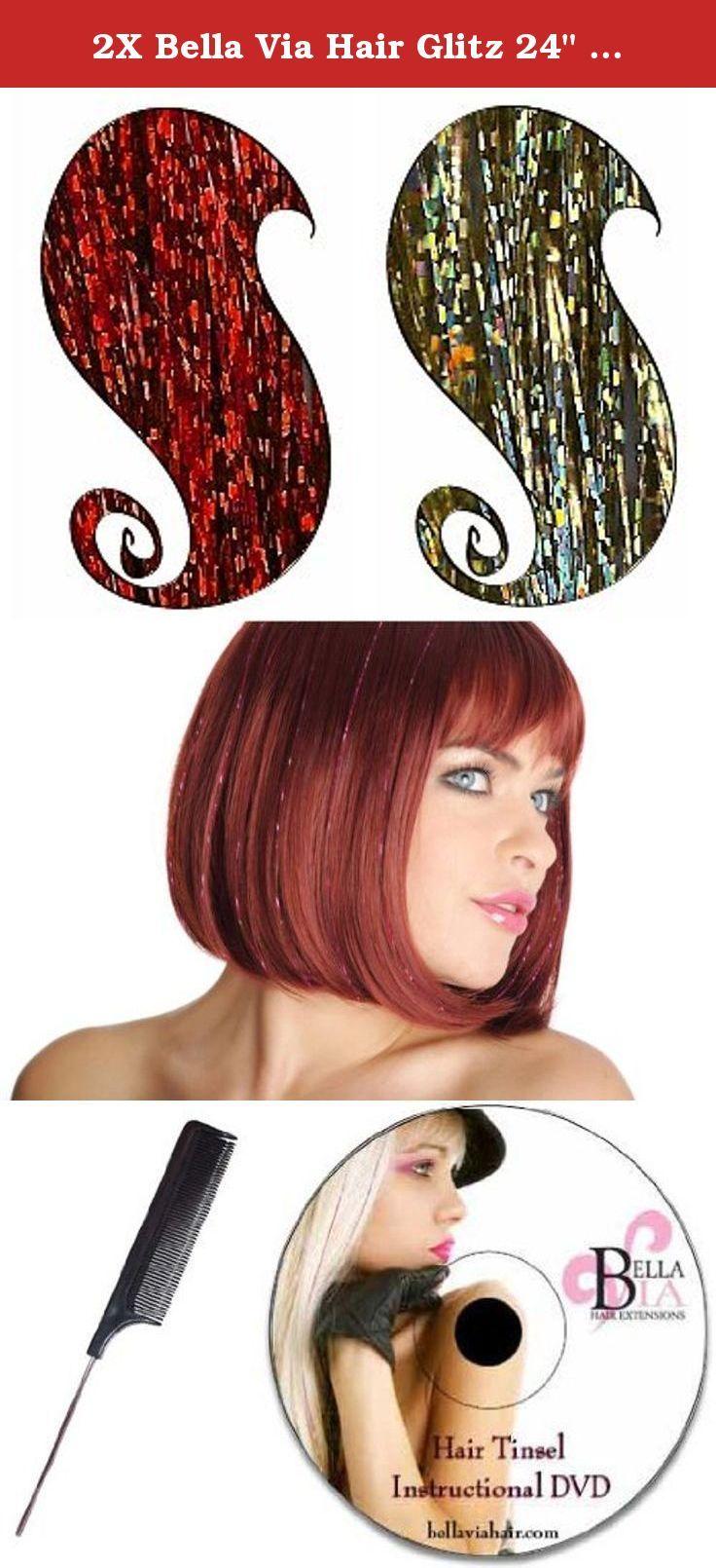 2x Bella Via Hair Glitz 24 3d Tinsel Strands Red Gold
