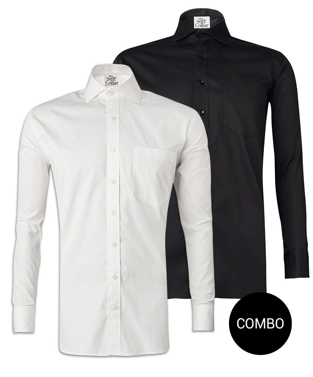 bbba42b678b White Twill and Black Satin Regular Fit Shirt Combo  mensstyle  cottonshirt   mensdesign  designershirt  mensshirt  mensfashion