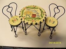 Vintage Mills River Hand Painted Doll House Ice Cream Table Chairs