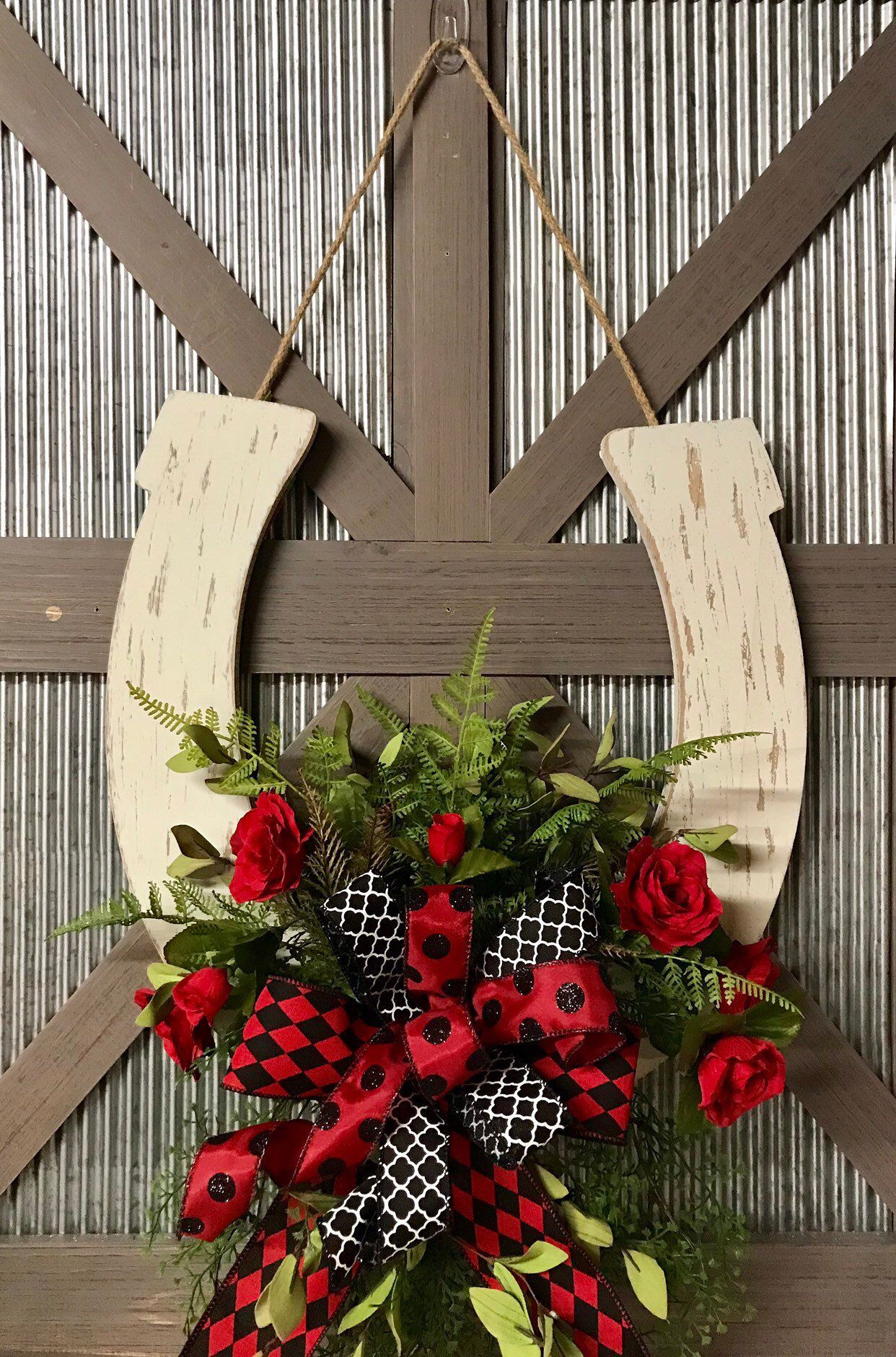 Photo of Derby Wreath for Front Door, Kentucky Derby, Horseshoe Wreath, Wedding Gift, Derby Decor, Roses, Horse Racing, Hostess, Ready To Ship