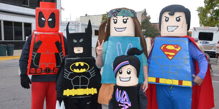 Back row: Portraying Lego versions of Deadpool, Batman, a hippie and ...