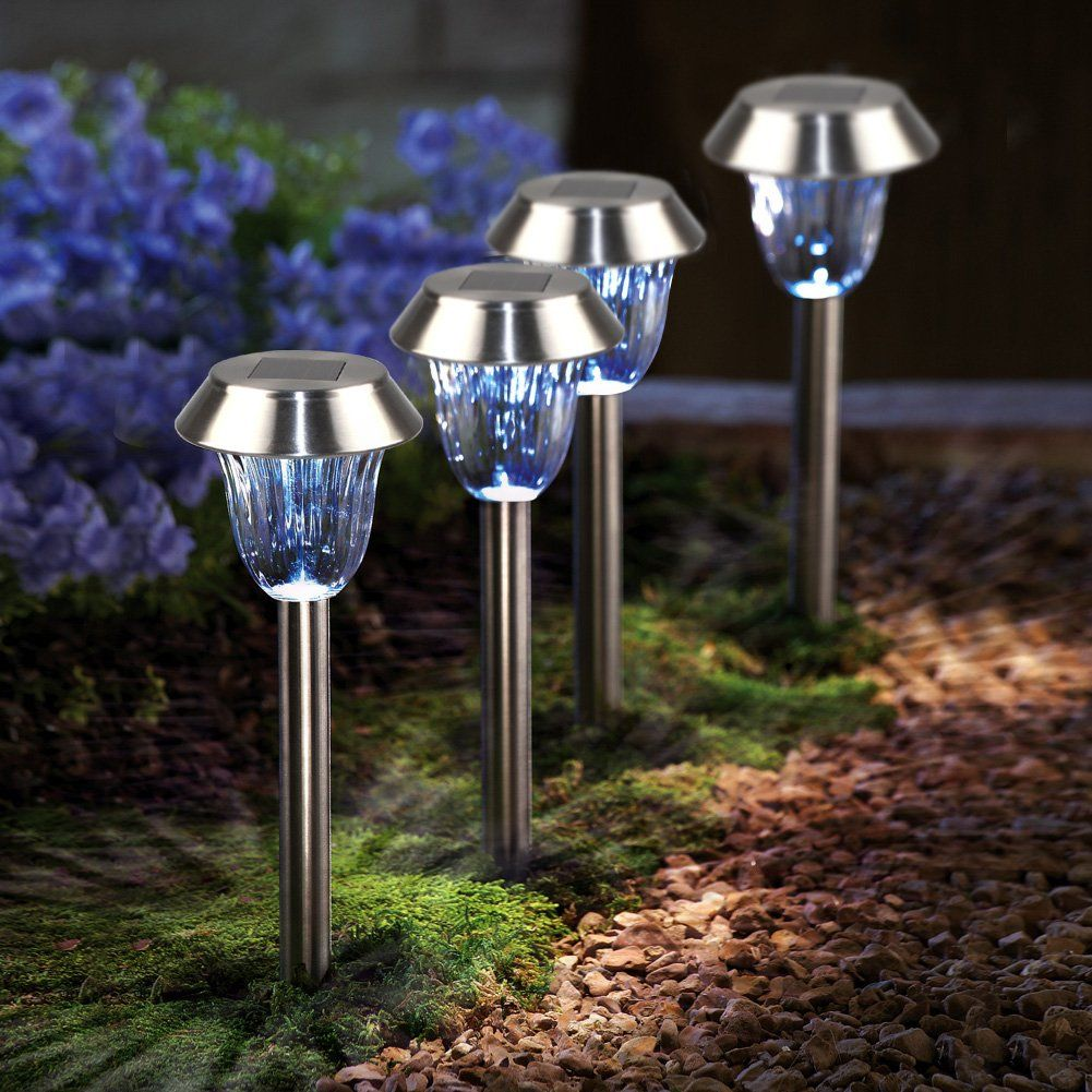 Kazoku 4 Pack Solar Powered Path Lights Solar Landscape Lights Outdoor Stainless Steel Garden Solar L Diy Outdoor Lighting Solar Lights Garden Outdoor Lighting