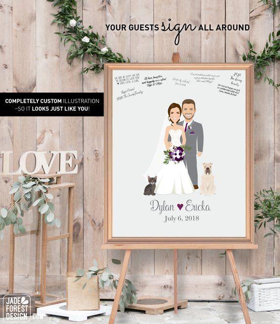 Diy Wedding Guest Hair: Rustic Wedding Guest Book Alternative, Custom Illustration