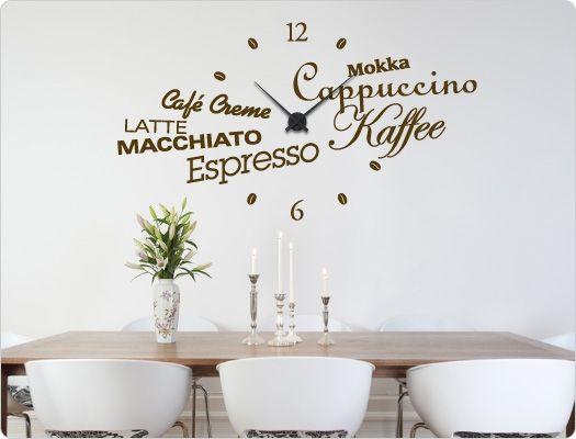 Cute Wandtattoo Uhr K che Kaffee