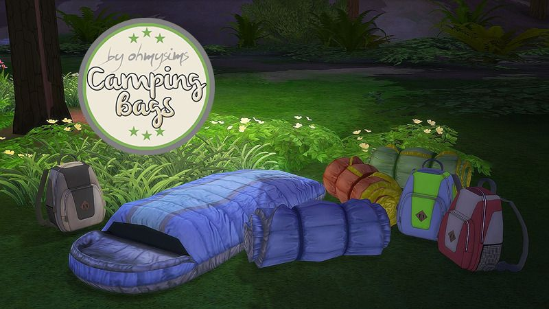 3t4 Camping Bags For Budgie2budgie S Granite Falls Ranger Station Sleeping Bag Open Roll Backpack Note These Are A Sims 4 Sims Around The Sims 4