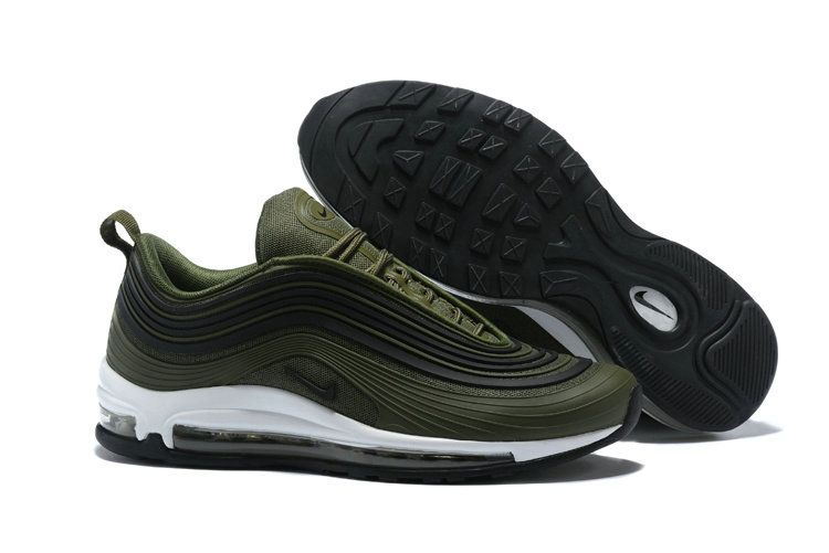 sale retailer c40ac 6a983 Cheapest and Newest Men Nike Air Max 97 Ultra 17 Premium Moss Green Black  White