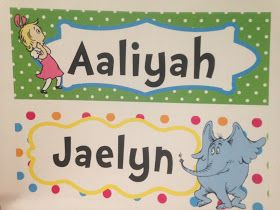 one of a kind dr seuss student name tags for desks tables dr