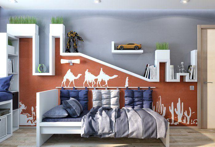Jungenzimmer Gestalten Ideen Und Designs Tolle Wanddeko Wandgestaltung  Kamel Malerei Rote Wand | I Wallpaper Children | Pinterest | Roten Wände,  ...