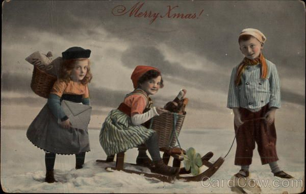 Merry Xmas! - Children in Snow with Sled