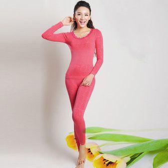 Women Modal Jacquard Round Neck Seamless Warm Thermal Shaping Sets Long Pajamas Sleepwear at Banggood