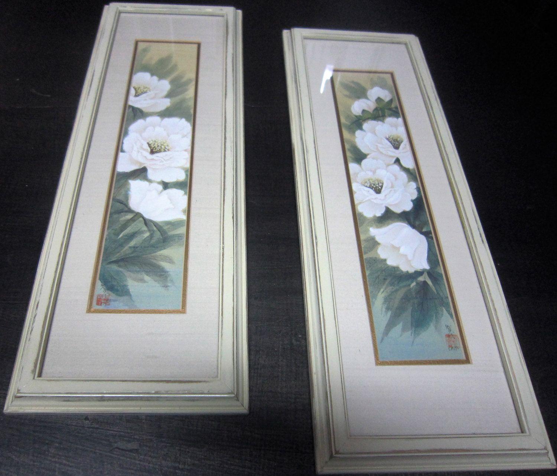 Reduced** Vintage Framed Floral Art, Antique White Framed Art, Floral