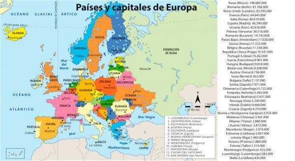 Mapa De Europa Paises Y Capitales Actualizado.Paises Y Capitales De Europa Datos Actualizados 2017