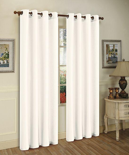 White Mira Curtain Panel - Set of Two