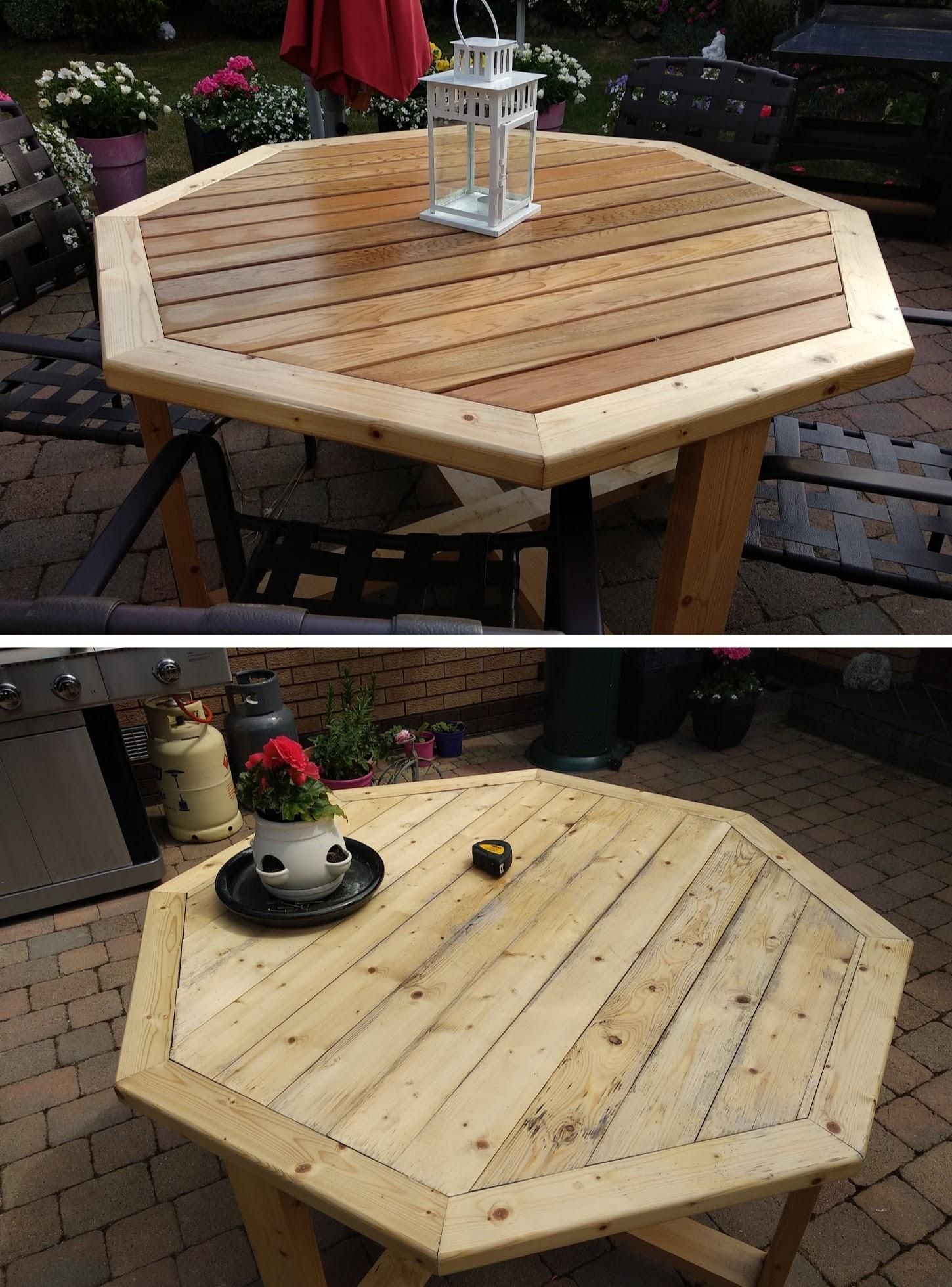 I Built A Pine Patio Table Last Year But It Didn T Hold Up So Well So Replaced The Top Boards With Cedar Https I Wood Patio Table Patio Table Diy Patio Table