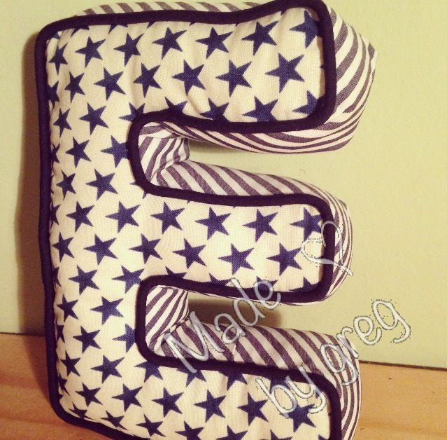 handmade diy alphabet letter shaped cushion decorative pillow nautical theme star pattern