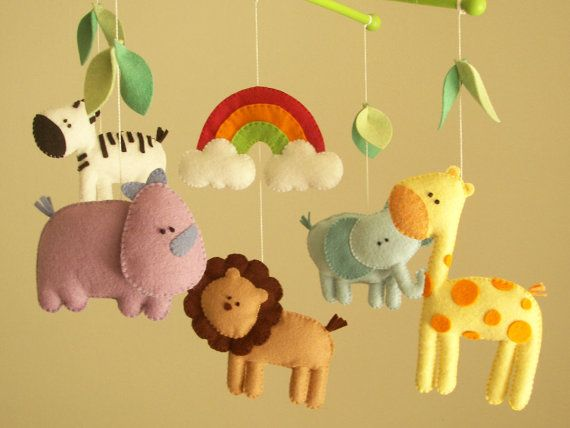 Baby Crib Mobile Safari Animal Felt Let S Go To The Zoo Elephant Lion Giraffe Zebra Rhino
