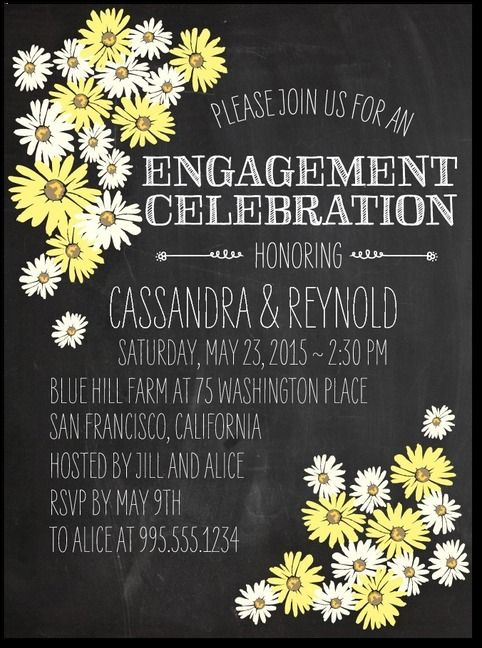 Chalked Daisies - Signature White Engagement Party Invitations in Citron or Creamy Beige | Baumbirdy