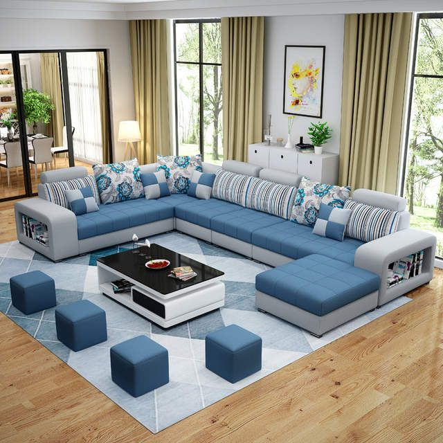 Living Room Sofa Set Home Furniture Modern Cotton Fabric Solid