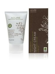 The Night Cream from Acure Organics is a rich with tons of essential fatty acids from Argan, Borage, and Evening Primrose, natural antioxidants from our Curoxidant Blend, and our patented Skin-Immune technology, designed to support and optimize the natural immune defense mechanisms in the epidermal layers. It also contains 2% Chlorella Growth Factor and Argan Stem Cell;  amazing food for the skin when your body is working its hardest.