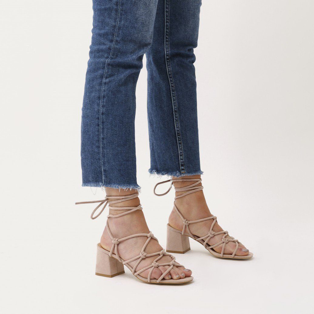 bfeb4cf26087 Freya Knotted Strappy Block Heeled Sandals in Blush Nude Faux Suede
