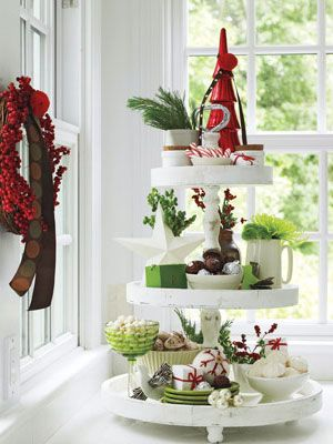 Candies, dazzling greens and keepsakes are irresistible layered on an old-fashioned tiered cake stand.  #holiday #christmas