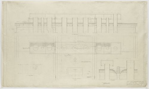 Farnsworth House, Plano, Illinois, Details of roof openings. Sections, plans Ludwig Mies van der Rohe (American, born Germany. 1886–1969)  1950. Pencil on ozalid, 36 1/2 x 62 (92.7 x 157.5 cm). Mies van der Rohe Archive, gift of the architect. © 2013 The Museum of Modern Art, New York