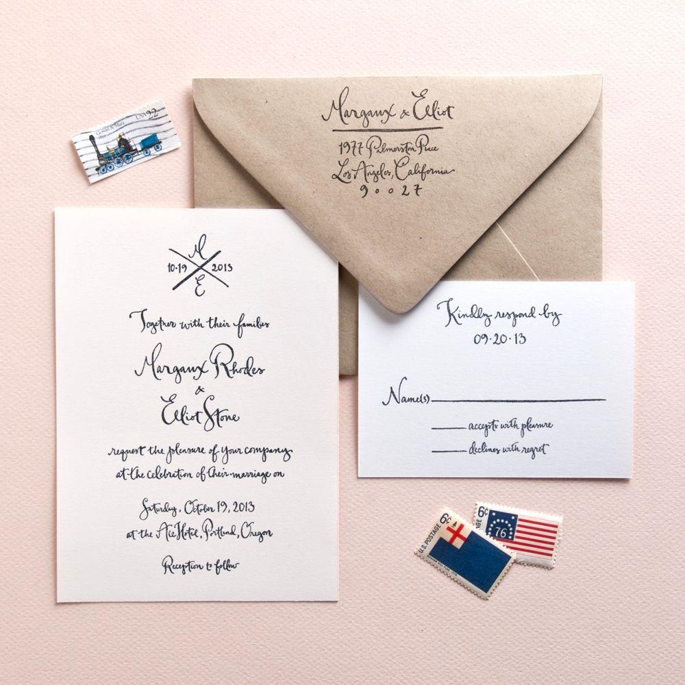 Margaux All Calligraphy Invitation Suite Invitation