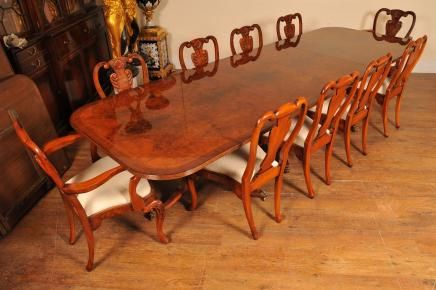 Superbe Regency Walnut Dining Table Set Queen Anne Chairs Tables Suite Furniture