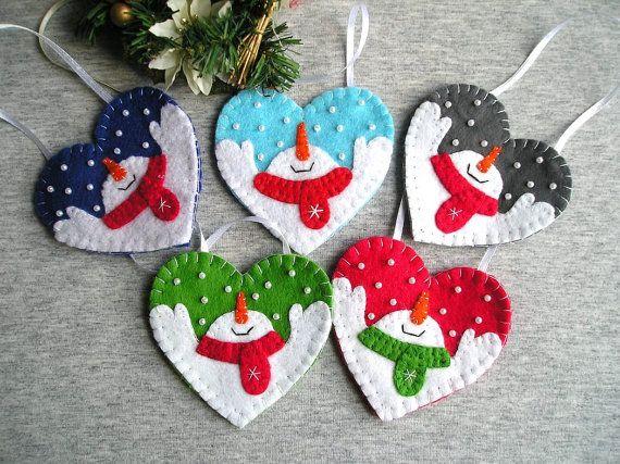 Blue Felt Christmas Ornaments Snowman Tree Ornaments Felt