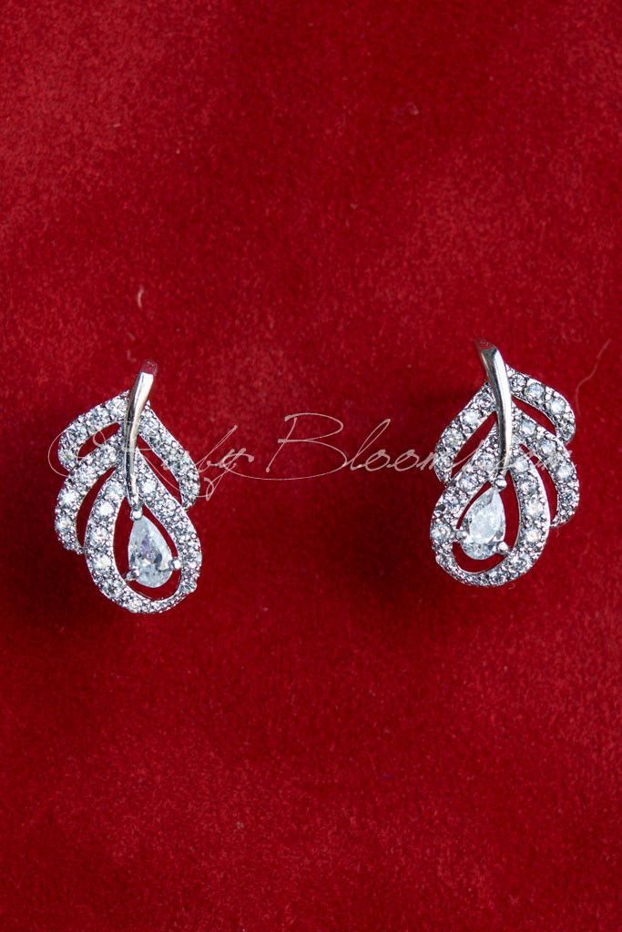 CZ Crystal Silver Peacock Feather Bridal Stud Earrings