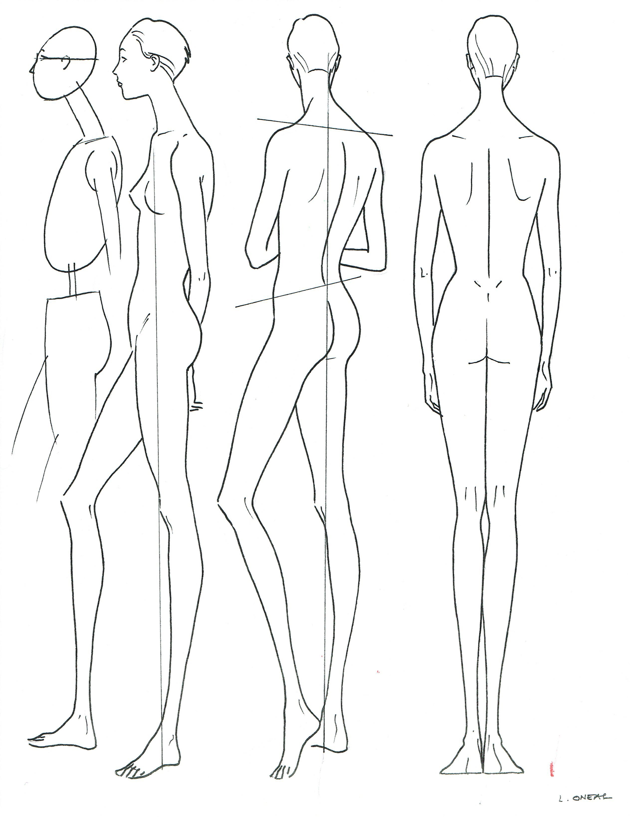 Women S Fashion Proportion Side And Back View L O Neal With