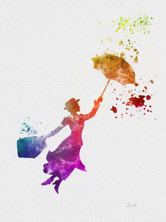 """Mary Poppins ART PRINT 10 x 8 """"illustration, Disney, technique mixte, Home Decor, pépinière, Kid"""