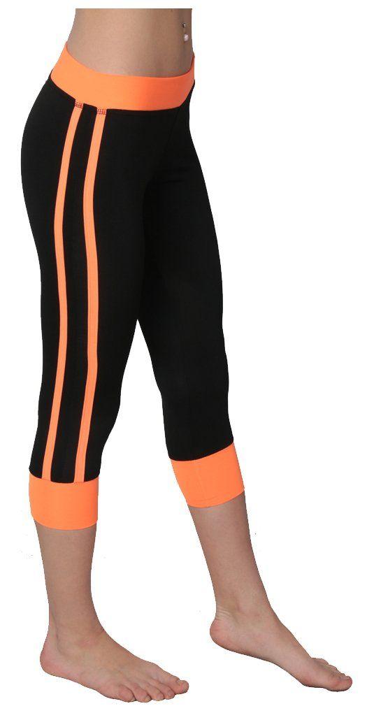 6784b8787a6 Designed For You Women s performance active black capri leggings 3X Orange