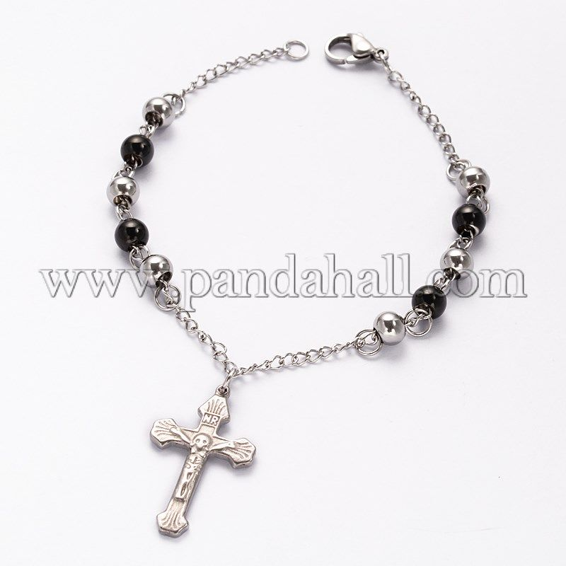 Cross 304 Stainless Steel Charm Bracelets, with Lobster