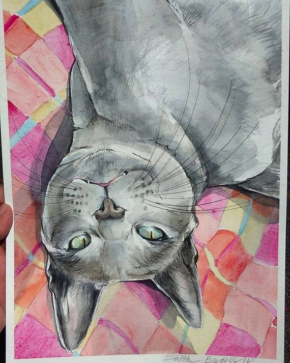 Personal/ Custom Cat Illustrated Watercolor by DrawingsbyFaithB