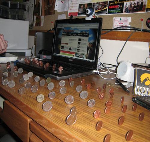 pennies balancing ...