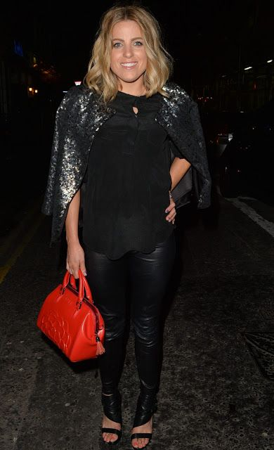 Celebrities In Leather: Olivia Cox wears black leather pants