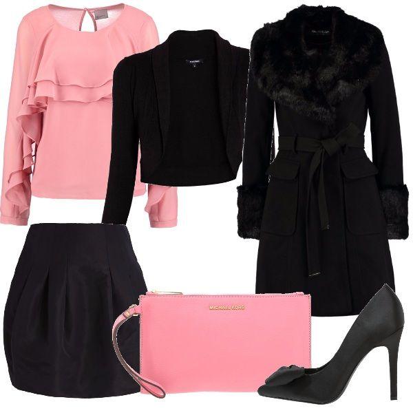 prezzo ragionevole codici promozionali dai un'occhiata Per questo outfit: camicetta rosa con rouches manica lunga ...