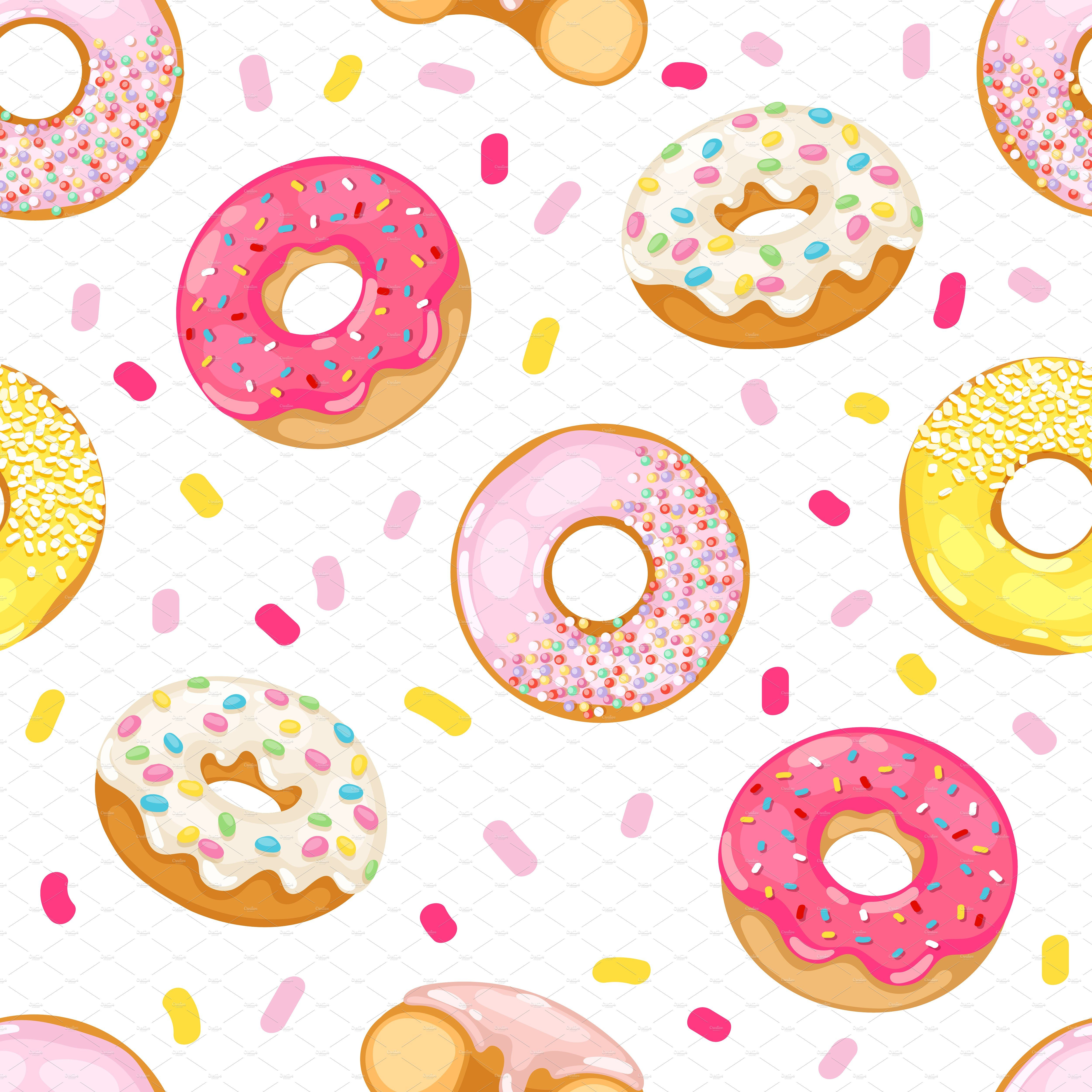 Vector Donut Seamless Pattern Donut Vector Donut Drawing Seamless Patterns