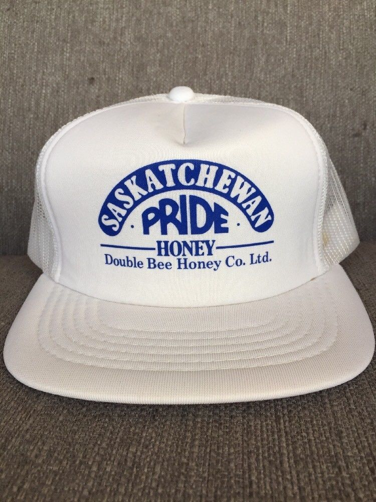 985ffc98616 Long Bill Trucker Hat Original Vintage 80s MEMBER of CANADIAN Drinking Team  Snapback Hat Blue Mesh Cap Rare Fun Oversized Visor Beer Ballcap