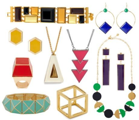 Geometric jewelry (although I'm not exactly sure how you wear that golden cube...)