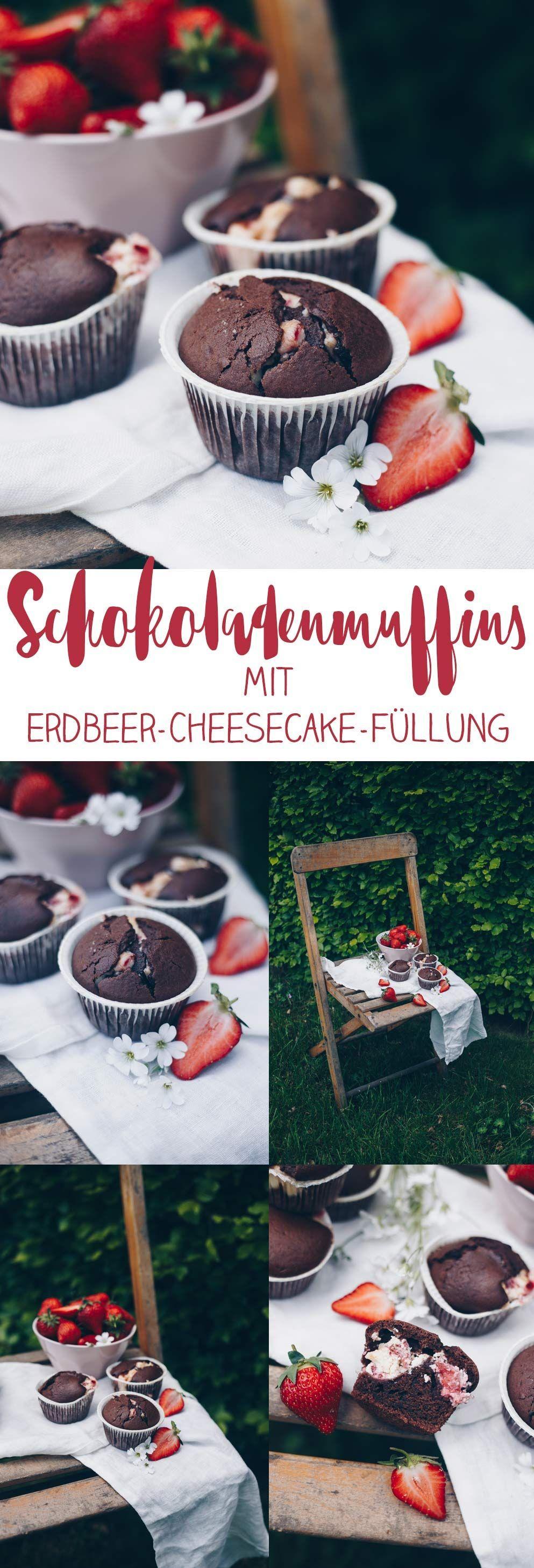 Schokoladenmuffins mit Erdbeer-Cheesecake-Füllung backen - Erdbeeren
